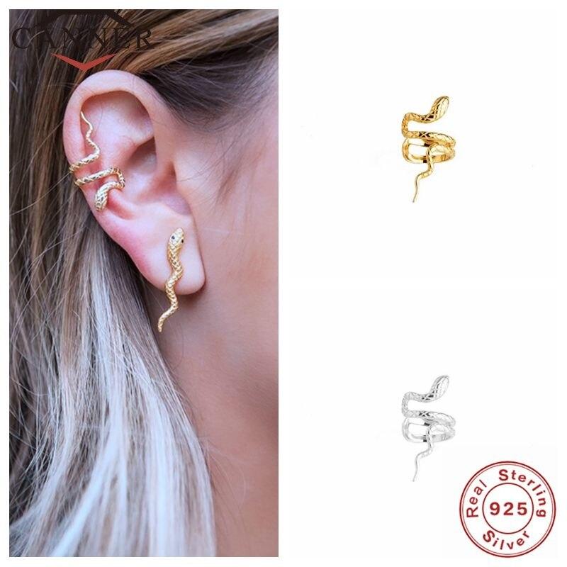 Cner złoty kolor srebrny prawdziwe 925 Sterling Silver Ear mankietowe kolczyki dla kobiet Snake Earcuff Clip on Earring No piercing Jewelry