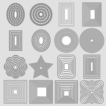 Square Star Heart Rectangle Circle DIY Craft Metal Cutting Die Scrapbook Embossed Paper Card Album Craft Template Stencil Dies