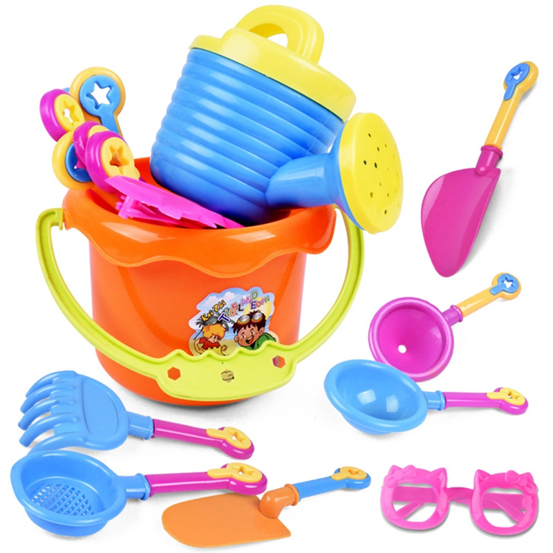 9pcs/Set Glasses Bucket Beach Shovel Sand Play Simulation Plastic Baby Kids Toy Set Creative Colorful Toy Random Color