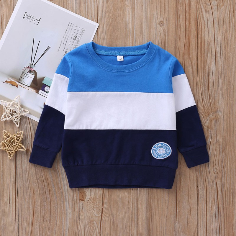 Sweatshirt Fleece Kids Baby-Boy Fashion Casual Autumn Spring Patchwork Striped Long-Sleeve