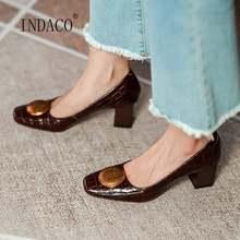 Туфли женские из лакированной кожи высокий квадратный каблук