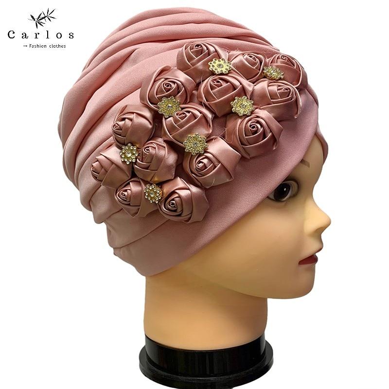 Newest Elegant Turban Hats Women Cap Beaded For India Hat Scarfs Head Wrap Headband Girl Hair Accessories Lady Ca-20