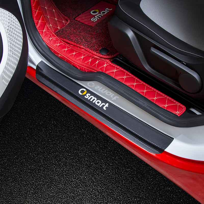 Image 4 - Car Sticker Car Accessories Carbon Fiber Door Sill Scuff Plate Guards Sills for Mercedes Benz Smart Fortwo Forfour Forjeremy-in Car Stickers from Automobiles & Motorcycles