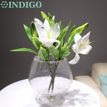 5pcs/Lot 3 Heads White Plastic Lily  Real Touch Flower Artificial Flowers Lily Wedding Flower Party High Quality Free Shipping chinese flower tea lily flowers lily flowers in bulk bulk tea f237