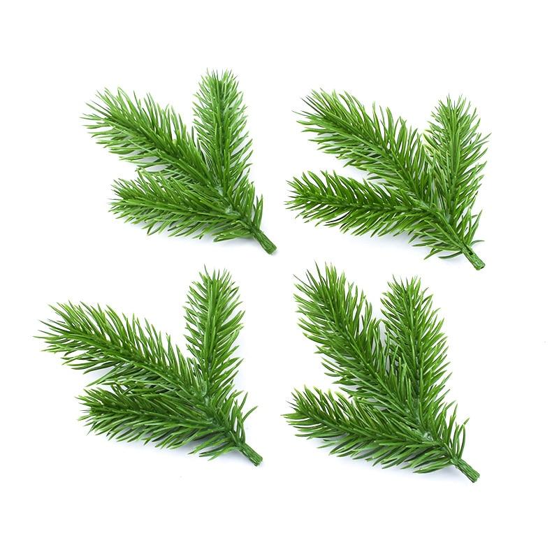 5pcs Christmas Ornament Pine Leaves Decorative Flowers For Scrapbooking Home Decoration Accessories Wedding Artificial Plants