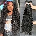 Пупряди бразильских волос Link, 1/3/4 пряди глубоких волн, натуральный цвет, 28 30 32 34 40 дюймов Пряди, Remy, вьющиеся волосы для наращивания
