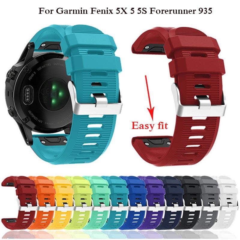 26 22 мм ремешок для наручных часов Garmin Fenix 5X 5 5S 6X iPhone 6 Plus 3 HR/Forerunner 935 часы для часов, быстросъемный силиконовый ремешок отлично подходит браслет на запястье Смарт-аксессуары      АлиЭкспресс