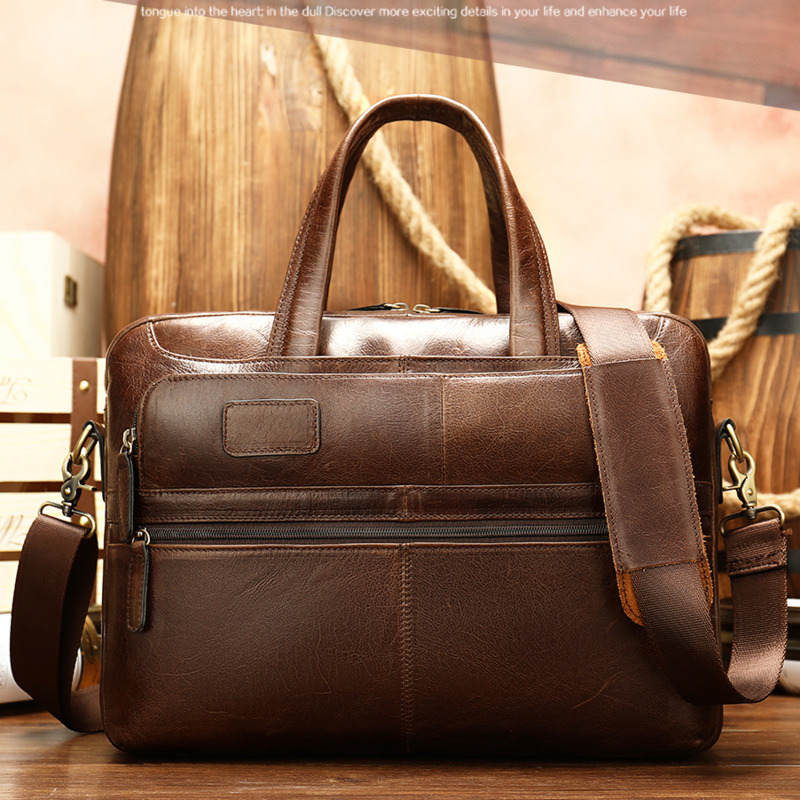 Fashion Men's Briefcase Messenger Bags Leather Bag Men Vintage Bags Men's Genuine Leather Briefcase Laptop/office Bags For Men