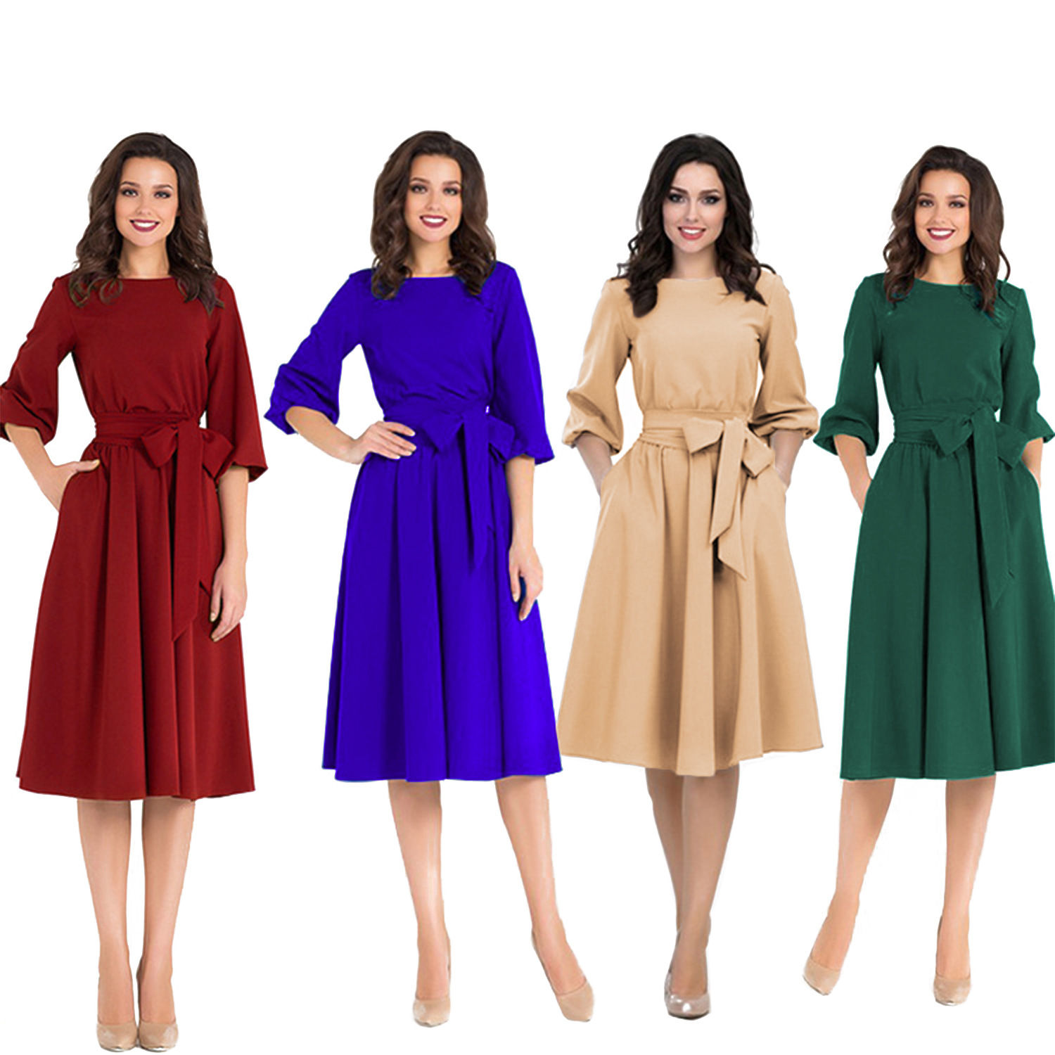 Madam Clothing OWLPRINCESS The New 2019 Round Collar Pure Color Waist Long-sleeved Dress