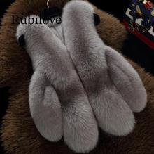 Rubilove Natural Real Fox Fur Vest 50 cm Winter Short Thick Women Sleeveless Jacket Pockets Coats Slim Pa