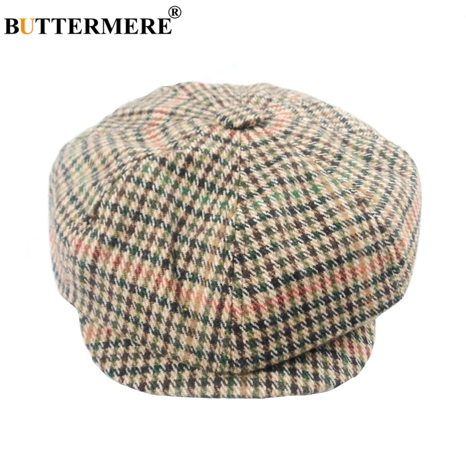 BUTTERMERE Newsboy Hats Berets Men Female Houndstooth Wool Tweed Gatsby Flat Cap Casual Checkered Autumn Vintage Painters Hat