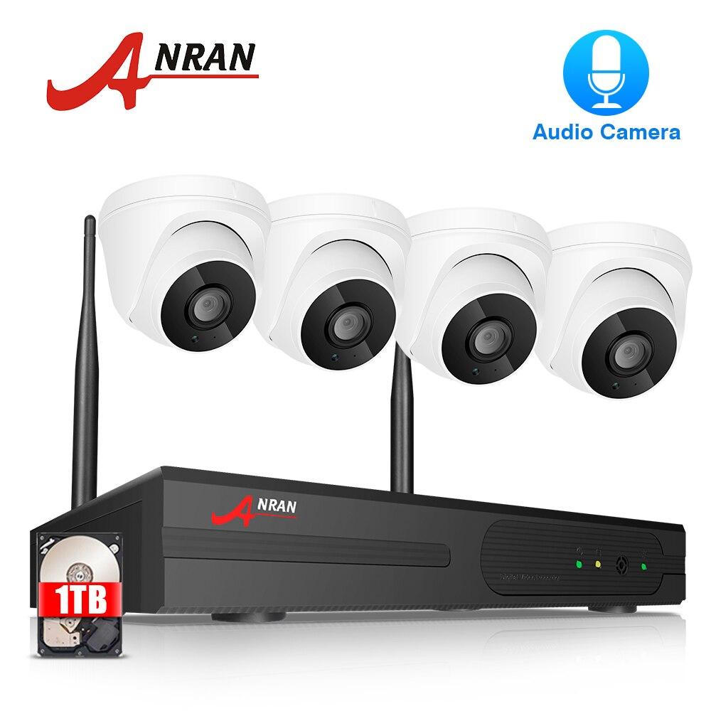 ANRAN Домашний Беспроводной комплект видеонаблюдения Аудио CCTV камера система 4 CH NVR набор 1080P HD домашняя Wifi камера безопасности