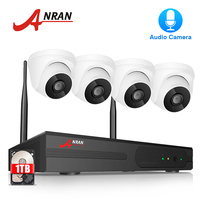 ANRAN Home Wireless Video Surveillance Kit Audio CCTV Camera System 4 CH NVR Kit 1080P HD Indoor Wifi Security Camera System