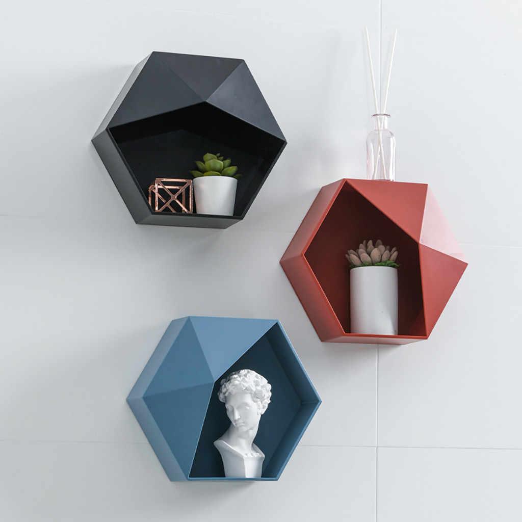 Nordic Hexagon Scaffale Geometrica Wall Hanging Holder Rack a Nido D'ape Salotto Bagno Ripiani per Parete Complementi Arredo Casa Organizer Box