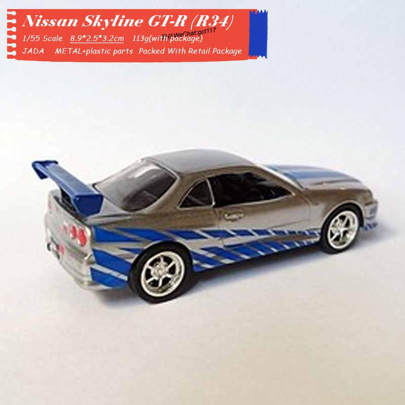 Zada-juguete de modelo de coche a escala 1/55, Nissan Skyline GTR R34, juguete de modelo de coche de Metal fundido a troquel para regalo, niños, colección