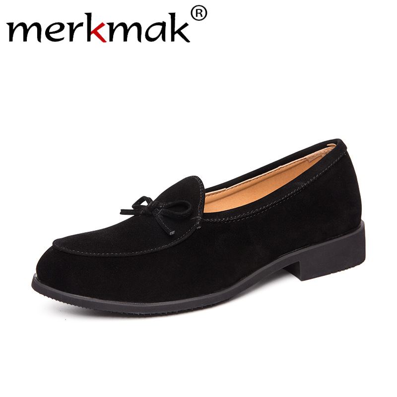 Merkmak Round Toe Men Casual Shoes Autumn New Genuine Leather Solid Color Flats Male Loafers Fashion Breathable Walking Footwear