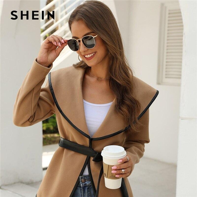 SHEIN Solid Contrast Binding Waterfall Collar Casual Coat With Belt Women 2019 Autumn Streetwear Long Sleeve Ladies Outwear 1