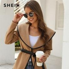 SHEIN Solid Contrast Binding Waterfall Collar Casual Coat With Belt Women 2019 Autumn Streetwear Long Sleeve Ladies Outwear