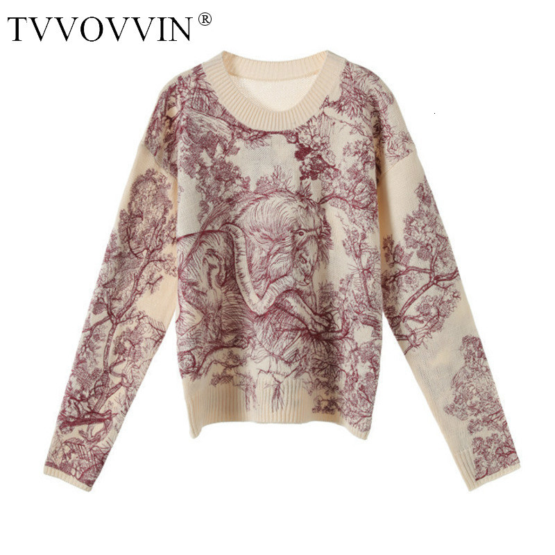 TVVOVVIN 2019 New Srping Fashion Women Embroidery Round Neck Full Sleeves Knits Printed Loose Sweater Female Pullover F438