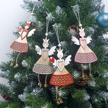 Creative Christmas Hanging Decorations Wooden Pendants 2020 Tree Blue Painted Sign Ornaments Bell for Home