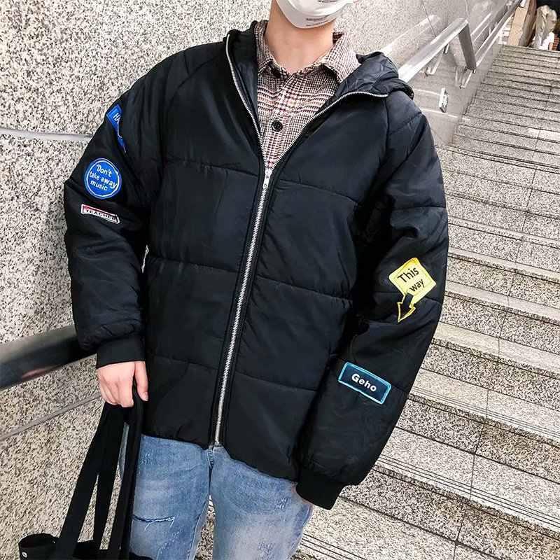 Зимнее теплое пуховое пальто для студентов в Корейском стиле, Трендовое толстое хлопковое пальто свободного кроя с капюшоном, BF Harajuku, стильное хлопковое пальто для мужчин
