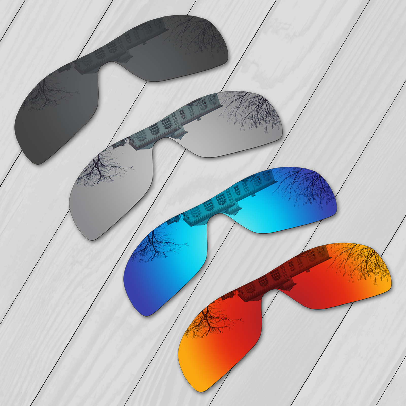 E.O.S 4 Pieces Black & Silver & Ice Blue & Fire Red Polarized ReplacementLensesforOakleyTurbine Rotor OO9307 Sunglasses