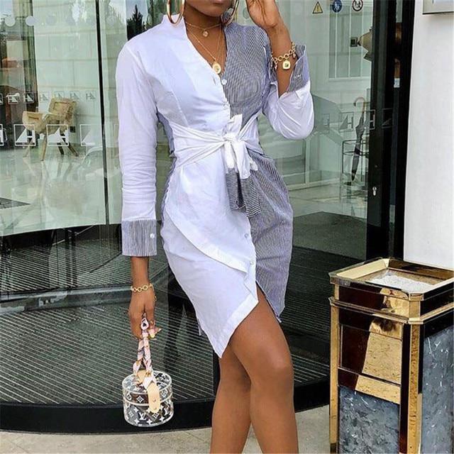 Fashion Shirt Dress Women Stripe Patchwork Short Party Dress Summer Autumn Holiday Sundress Office Lady Casual Dresses 1