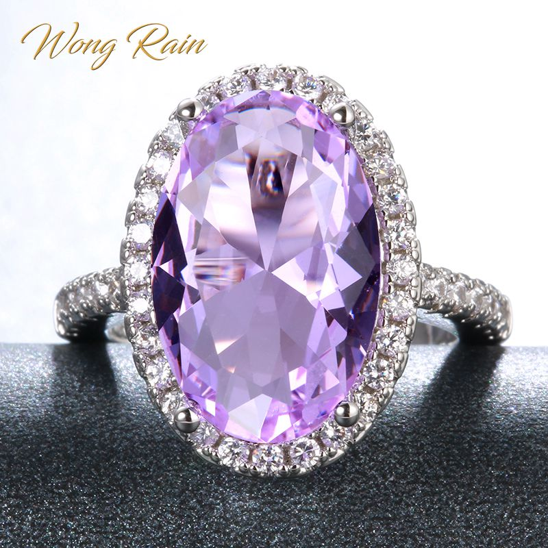 Wong Rain Vintage 100% 925 Sterling Silver Amethyst Gemstone Wedding Engagement Party White Gold Ring Fine Jewelry Wholesale