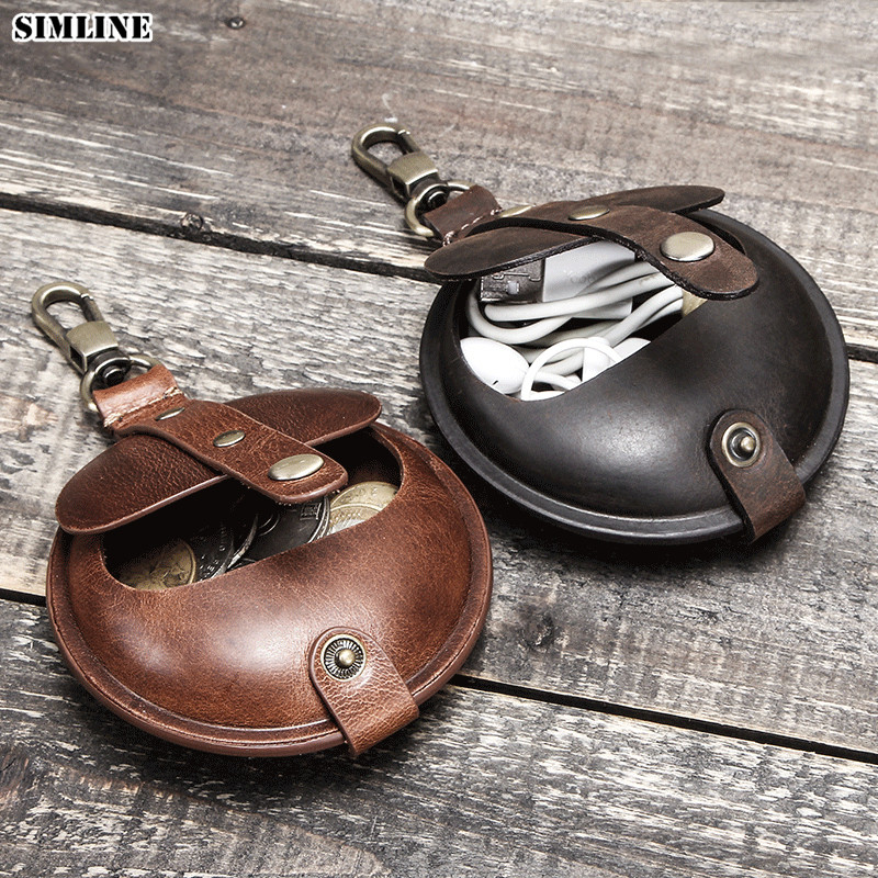 Genuine Leather Coin Purse Men Vintage Crazy Horse Small Change Pocket Earphone Headphone Airpod Case Storage Bag Cover Round