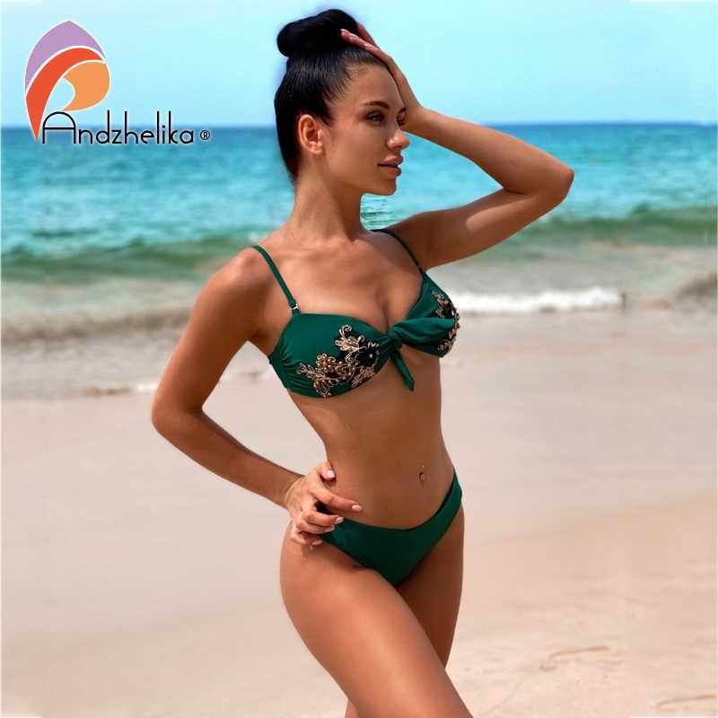 Andzhelika Bikini Seksi Wanita Bordir Bunga Swimsuit 2020 Musim Panas Pita Pengikat Rambut Brasil Bikini Baju Renang Monokini