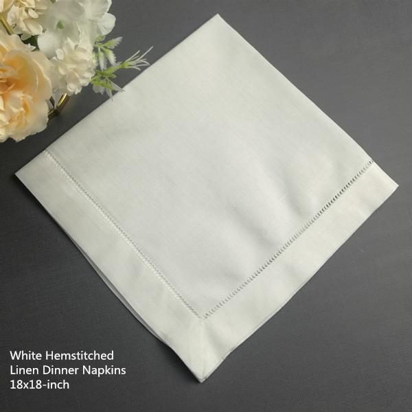 Sef Of 12 Fashion Dinner Napkins Perfec Wedding Napkins White Hemstitched Linen Table Napkins Tea Napkins 18x18-inch