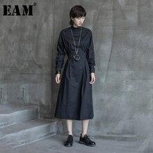 [EAM] 2019 女性黒プリーツ包帯ビッグ裾ドレス新スタンドネック長袖ルーズフィットファッション潮春秋 1A114