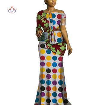 2019 african dresses for women bazin riche style femme african clothes lady print wax plus size party long wedding dress wy4826