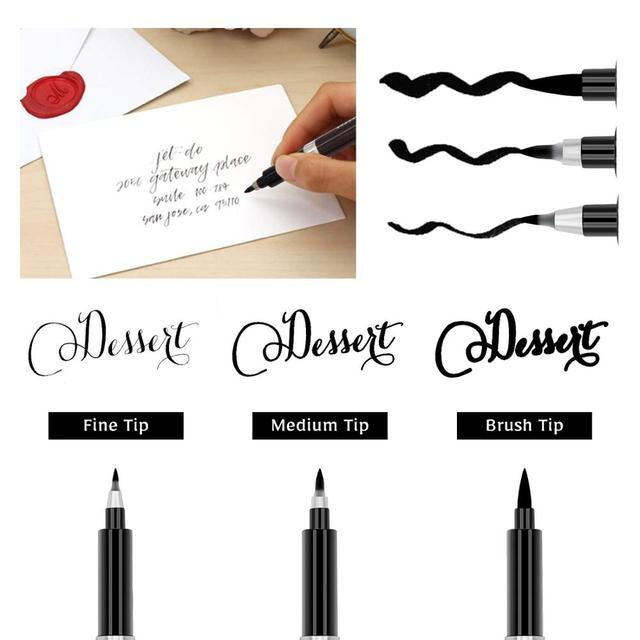 3pcs Calligraphy Pen Set Fine Liner tip Medium Brush Pens for Signature Drawing Hand Lettering School Album Art Supplies A6867 1