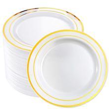 50 шт Золотой обод пластиковый Plates-7.5inch Золотой одноразовый салат/Десертные Тарелки-идеально подходит для свадеб и вечеринок