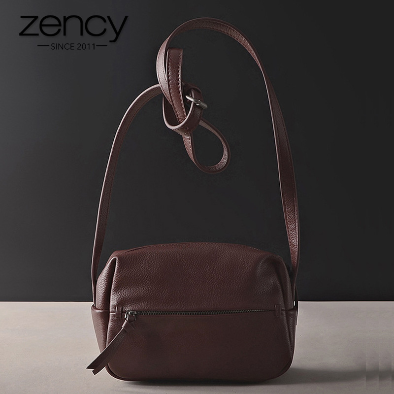 Zency 100% Genuine Leather Women's Messenger Bag Vintage Handbag High Quality Shoulder Bags Female Crossbody Soft Casual Purse
