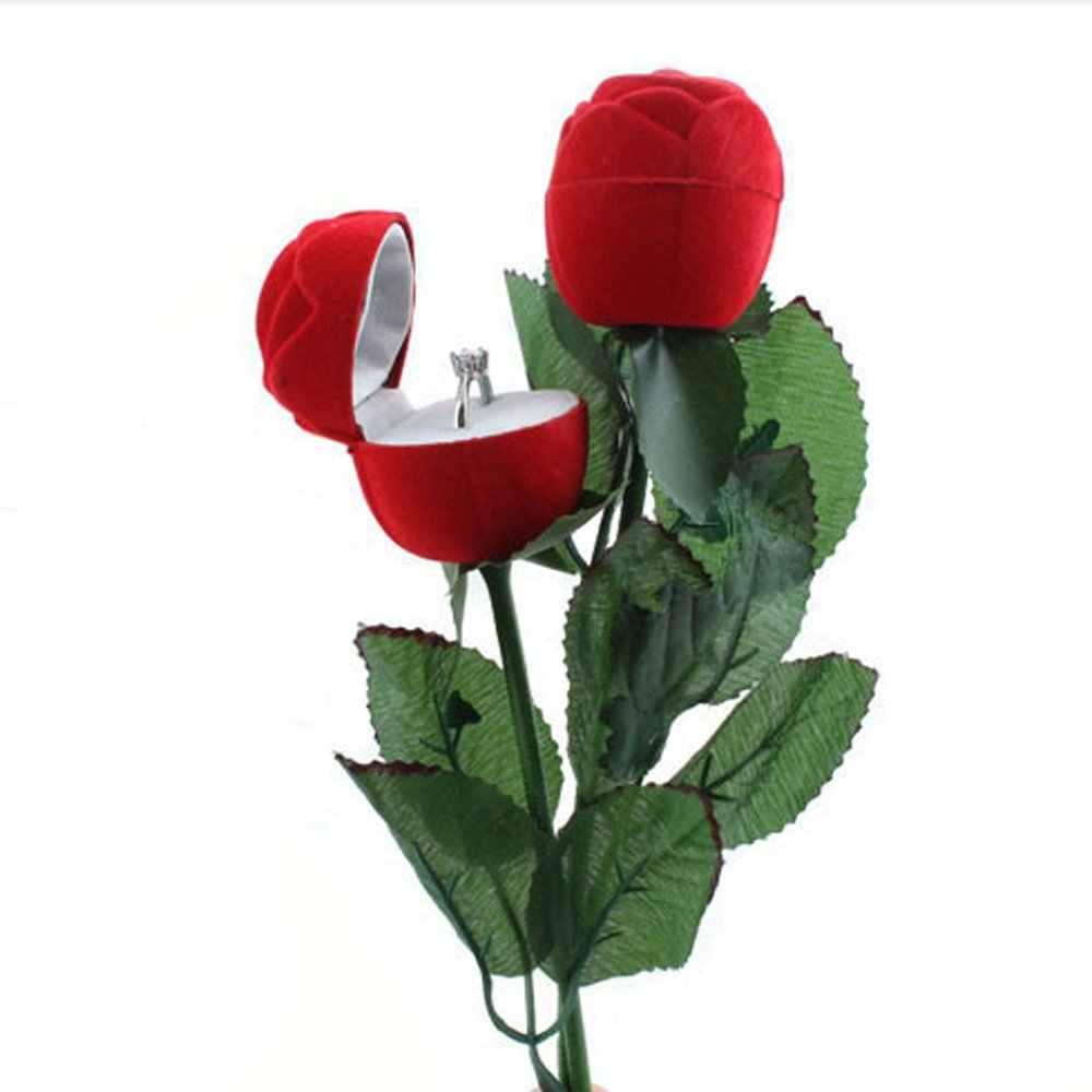 1 Pc Romantico Fiore della Rosa con Asta Anello Scatola di Velluto Regalo Creativo Scatola di Imballaggio Dei Monili di Caso di Esposizione di Fidanzamento di Cerimonia Nuziale di San Valentino