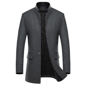 Men Woolen Coat Winter Men's Fashion Warm Wool Jacket Casual Stand collar Slim Overcoat Mens Long Trench Coat Male Outerwear 4XL