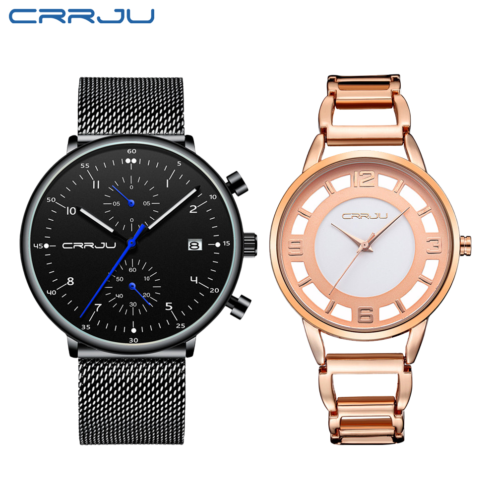 CRRJU Luxury Quartz Lovers Watches Fahsion Men And Women Calendar Week Steel Mesh Quartz Hodinky Reloj Mujer Hombre Couple Watch