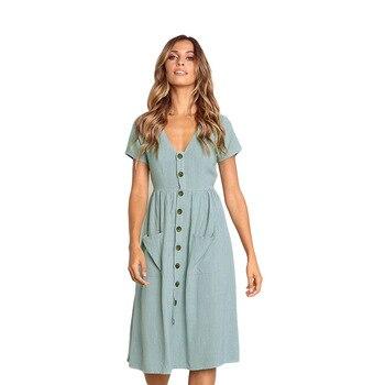 Vestido de verano de lino y algodón con cuello en V, informal
