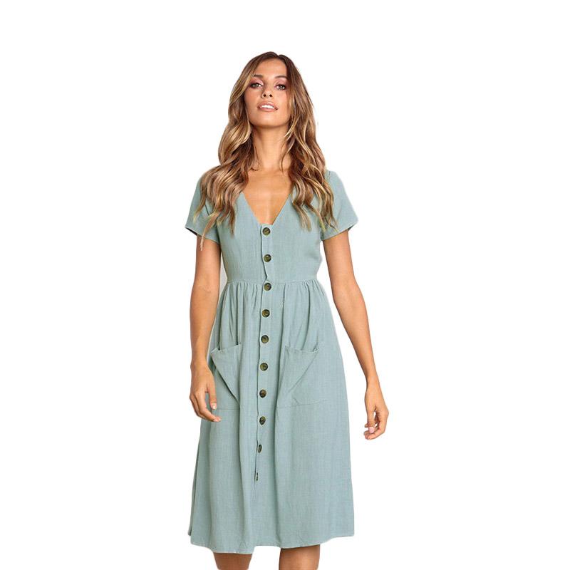 Cotton Linen Women Summer Dress 2020 Casual V neck Button Pocket Short Sleeve A line Midi Dresses For Women Vestidos