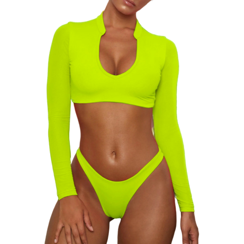 7 Color Mesh Long Sleeve Neon Bikini Set Two Piece Swimsuits For Women Pad Swimwear Female 2019 High Waist Rash Guard Beachwear