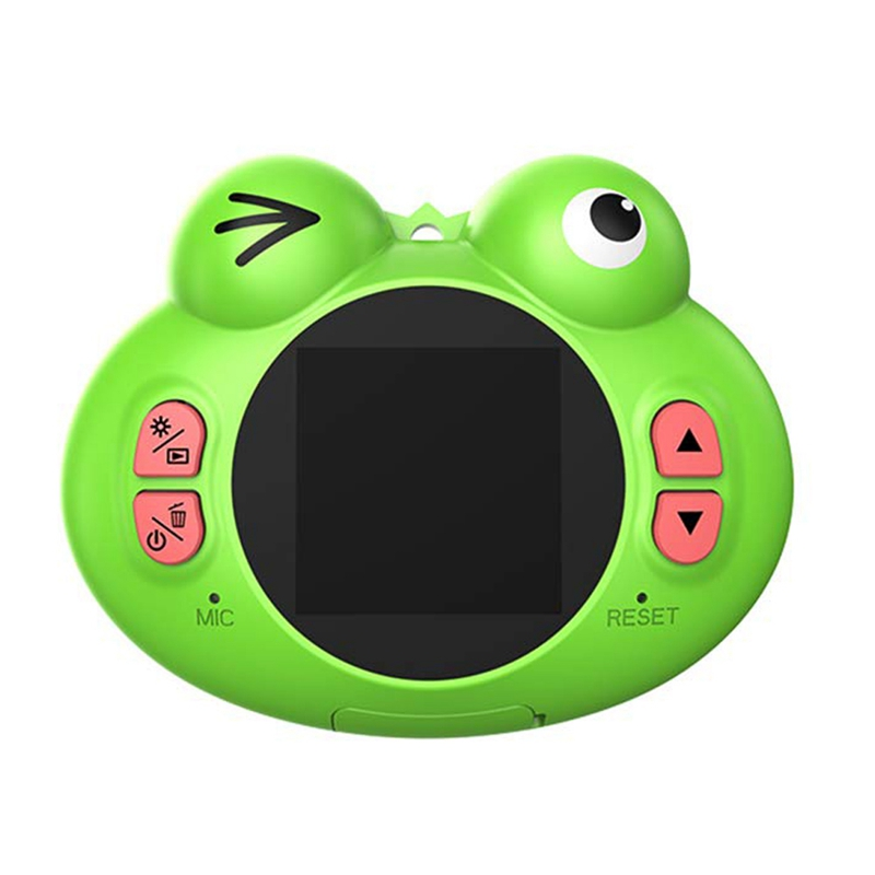 Digital Camera For Kids,Cute Cartoon Frog Design Portable Compact Anti-Shake Rechargeable With Games Diy Video Effects Kids Came image