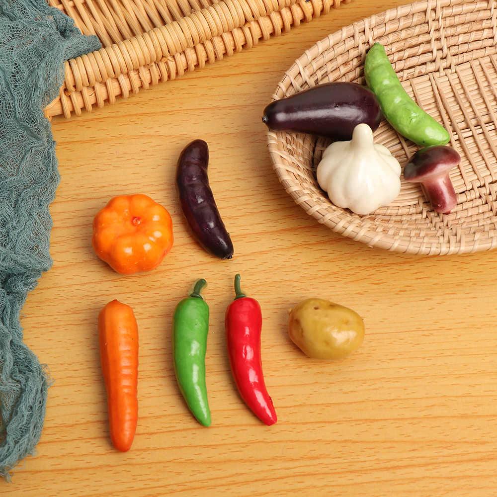 10 stks/set Miniatuur Fruit Groente Kunstmatige Nep Plastic Peper Aubergine Pompoen Keuken Decoratie Kinderen Geschenken Onderwijs Speelgoed