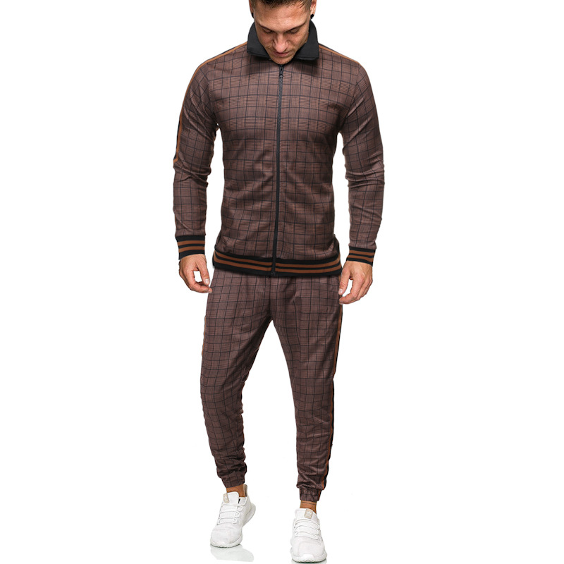 Men's Suit Autumn Print Plaid Sports Suit Outdoor Two-piece Suit Sport Jacket And Drawstring Pants Sets