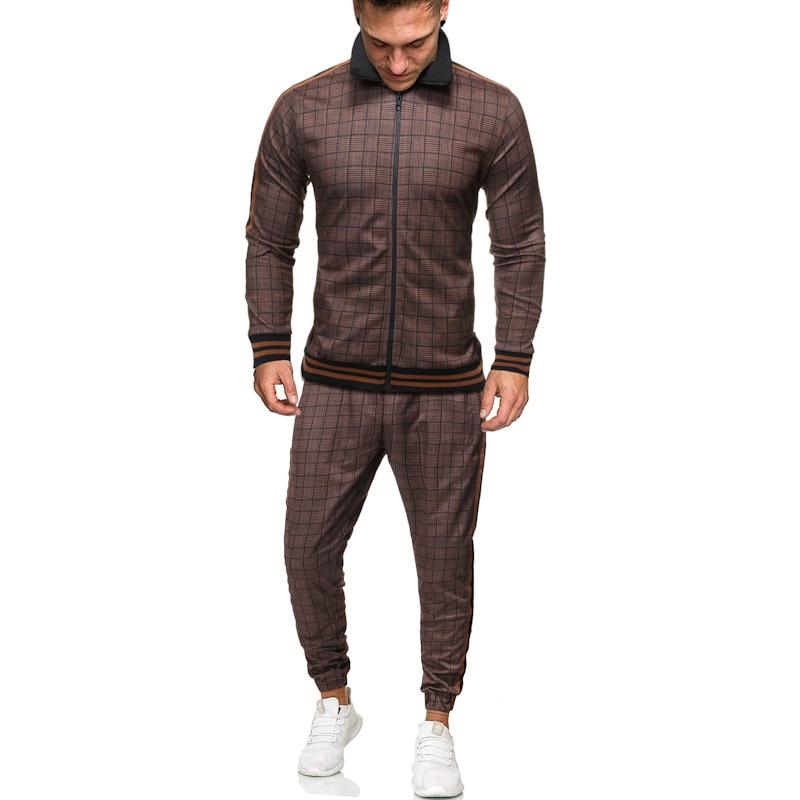 Men's Suit Autumn Print Plaid Sports Suit Outdoor Two-piece Suit Sport Jacket And Drawstring Pants Sets