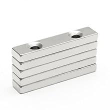 3 pçs/lote 50x10x5mm buraco duplo 5mm n35 bloco escareado quadrado ímã de neodímio terras raras ímãs poderosos 50*10 * 5-5-5mm