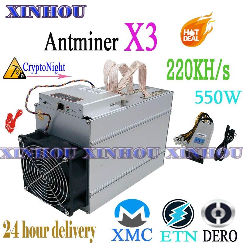 Verwendet XMC ETN DERO Asic miner AntMiner X3 220KH/s CryptoNight Bergbau maschine Besser als S9 S9j S9k S17 t17 S15 Z11 B7 A8 m3 Z1