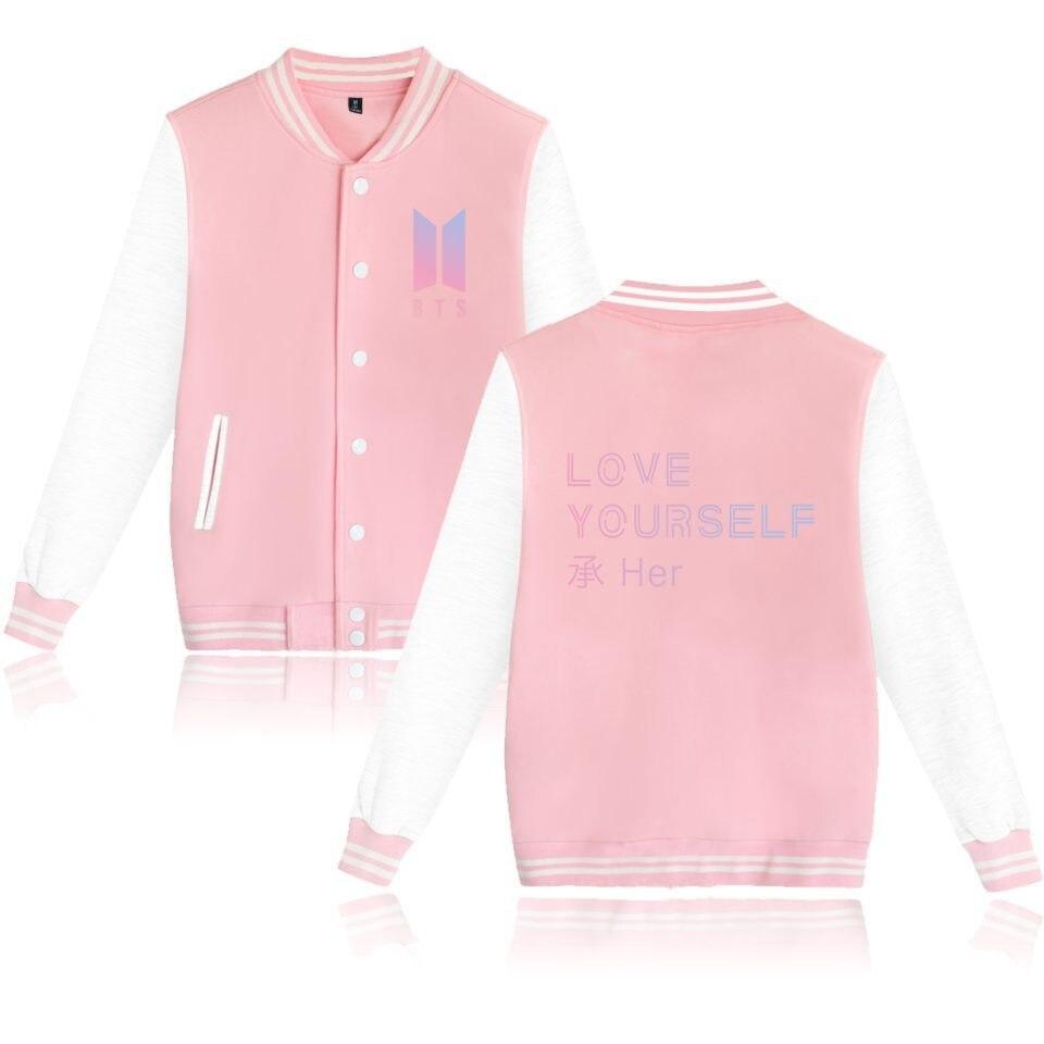 BTS Bulletproof Boys New Album LOVE Yourself COUPLE'S Baseball Uniform Hoodie Should Aid The Clothes