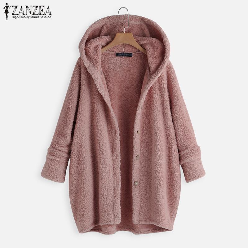 ZANZEA Hoody Jackets Cardigan Hoodies 2021 Women Thin Coats Solid Color Button Long Sleeve Loose Outerwear Jumper Plus Size 5XL